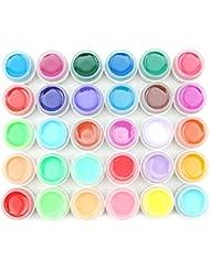 Coscelia Lot de 30 Couleur Solide Pure UV Gel Brillant Manucure Décoration