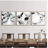 Home Modern Abstract Black White Chinese Ink Canvas Paintings Minimalist Poster Prints Living Room Wall Art Picture-50x50cm No Frame