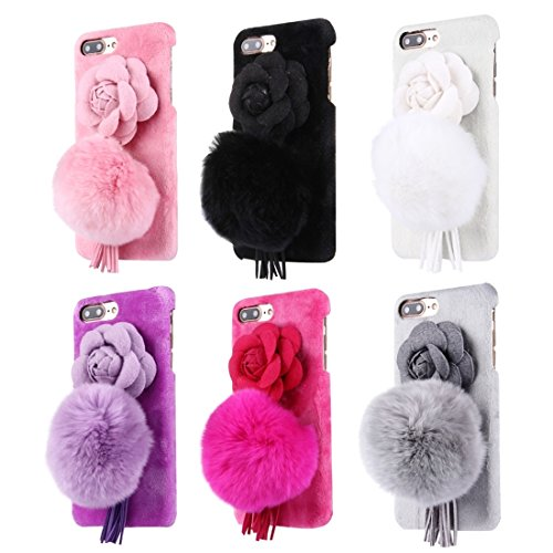 iPhone Case Cover Pour iPhone 7 Plus Camellia 3D fleur peluche boule de peluche couverture de tissu PC cas de protection ( Color : Magenta ) Black