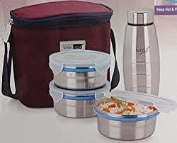 Steel Lock HL- 1371 Airtight 3 pc 400 ml each & Lock Steel Lunch / Meal/Tiffin Box with 300ml Bottle & Insulated bag