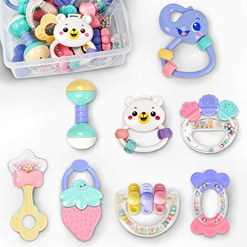 tumama sonajeros Bebe Juguetes de dentición de Dibujos Animados mordedores recién Nacidos Baby Hand Rattles Set de 8 (Type 1)