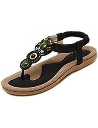 DULEE Frauen und Dame Böhmen Stil T-Strap Roman Perle Runde Peep Toe Flat  Sommer Strand Dunlop Sandalen Hausschuhe… 4f47f664a9
