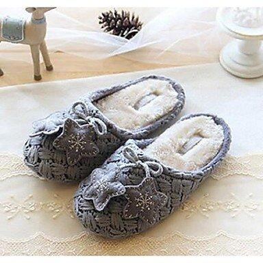 zhENfu donna pantofole & amp; flip-flops comfort per l'inverno Felpa casual tacco piatto pom-pom grigio Gray