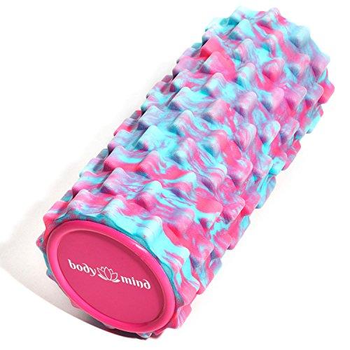 Body & Mind Faszienrolle Massage-Rolle Fitnessrolle Sportrolle Therapierolle für effektive Selbstmassage und Faszien-Training; 33 x 14,5 cm; Pink-Blau -