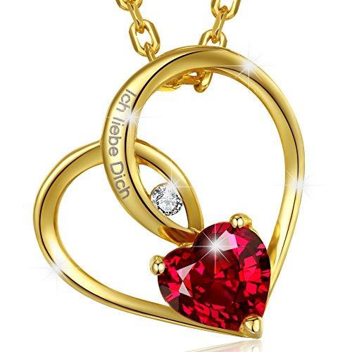MARENJA-Kristall-Valentinstag-Geschenke-fr-Frauen-Damen-Kette-mit-Herz-Anhnger-Gravur-Ich-liebe-Dich-Gelb-Vergoldet-Kristall
