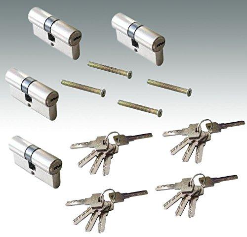60mm 4er Zylinderschloss Set Sicherheitsschloss Einbauschloss Türschloss Set mit 20 Schlüssel - Gleichschliessend