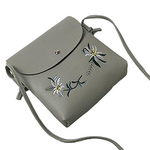 Tasche Bags Loveso Damen Mode Niedlich Blumenmuster PU Leder Mini Messenger Taschen Stickerei Crossbody Schultertaschen Handtasche Kleine Body Bags (Schwarz) Grau