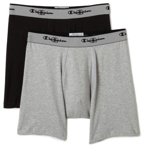 Champion Mens 2-Pack Double Dry ActiveFit Boxer Brief Grey/Black