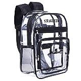 SMAGREHO transparent Rucksack, PVC wasserdicht Schulrucksack, unisex Daypack für Uni Schule Reise Freizeit und Sport, schwarz