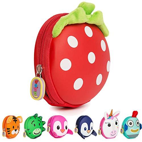 boppi Tiny Trekker Kinder Schlüssel Reise Beutel Münzen Handtasche Mini Reise Geldbeutel Schlüsseltasche Reißverschluss Unterarmtasche - Erdbeere - Pink-münzen-geldbeutel-schlüsselanhänger