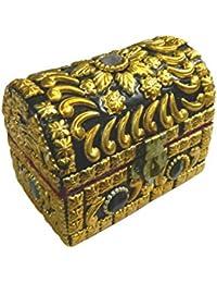 Cofre pirata dorado brillante 10 x 6,5 x 8 cm piedras de ágata almacenamiento caja