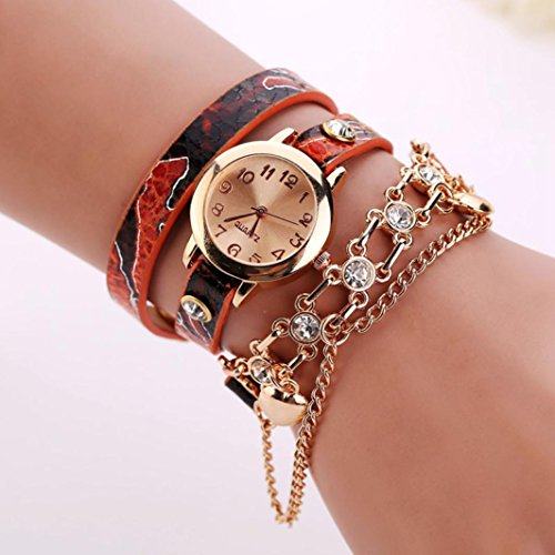 HUIHUI Uhren Damen, Geflochten Armbanduhren Günstige Uhren Wasserdicht Casual Strass Rivet Kette Quarz Armband Armbanduhr Luxus Armband Coole Uhren Lederarmband Mädchen Frau Uhr (A)