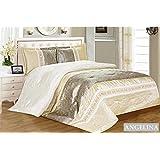 3tlg. Patchwork Streifen Tagesdecke Creme Silber Gold Bettüberwurf Überwurf für Doppelbett Silber 220x240 Quilt - Plaid Silber
