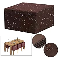 FOONEE Garden Furniture Covers, Square Patio Furniture Covers With Drawstring For Outdoor Patio Table And Chairs, Anti-water,Wind,Dust, Snow & UV, Suitable For All Year Round, Brown,150x150x70cm