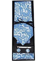 DiBanGu Paisley Woven Tie Handkerchief Classic Men's Necktie Cufflinks Tie Clip Set