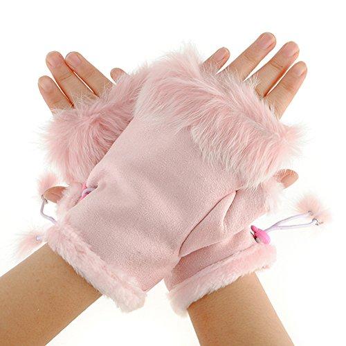 Faux Hase Pelz Winter Warm Handschuhe Weich Leinen Hand Handgelenk Fingerlos Kurz Handschuhe Fäustlinge Wärmer Für Frau Damen Rosa (Handschuhe Arm Wärmer)
