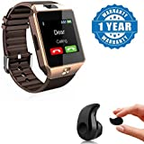Captcha Golden DZ09 Bluetooth Smart Watch With Camera And Sim Card & Sd Card Slot With Mini S530 Wireless Bluetooth V4.0 In-ear Stereo Earphone Headset Compatible With Xiaomi, Lenovo, Apple, Samsung, Sony, Oppo, Gionee, Vivo Smartphones (One Year Warr