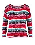 TOM TAILOR Damen Marken-Pullover, Rot-Bunt, Größe:M