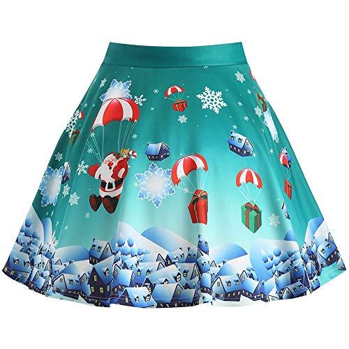 Yangyme Herrlich Weihnachtsmann Print Plus Size Rock Frauen Vintage Röcke Blumendruck Hohe Taille Plissee Eine Linie Wiggle Knielangen Rock Stil Vintage Rock Knie
