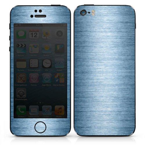 Apple iPhone 5 Case Skin Sticker aus Vinyl-Folie Aufkleber Metall Look Metal Look - Indigo DesignSkins® glänzend