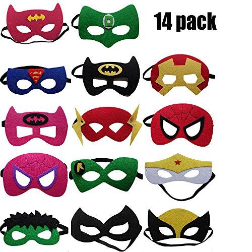 (YGSAT 14 Stücke Kinder Masken|Filz Masken|Superhelden Masken|Superhelden Party Masken|Superhero Cosplay Party Masken|Perfekt für Kinder im Alter von 3 +)