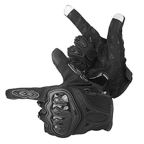 Guanti invernali da moto, Guanti termici antivento da esterno Guanti da ciclismo traspiranti antiscivolo, 3 colori, 3 taglie(M-Black)