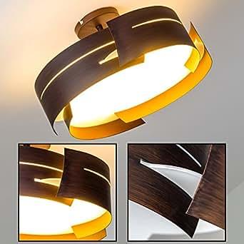 Deckenlampe tollem Wellen-Design – Designer-Leuchte für das Esszimmer – Küche – Metall-Leuchte mit Glas-Schirm für LED – Eco Halogen – Energiesparlampen (Braun)