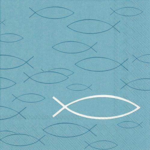 """20 Servietten """"Peaceful Fisch"""" mit Fisch-Motiven in Türkis / Blau Konfirmation / Kommunion / Taufe / Firmung / Tisch-Dekoration / Servietten für Mädchen /& Jungen türkis / blau mit Fischen (Servietten)"""