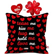 Indibni Valentine Day Gift Tease Me, Kiss Me, Hug Me Quote Seamless Heart Pattern Black Cushion Cover 16x16 inch - Gift for Boyfriend, Girlfriend, Birthday, Wife, Husband, Anniversary