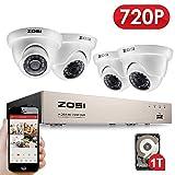 ZOSI CCTV HD 720P Überwachungssystem 8CH 1080N 4 in 1 DVR Recorder mit 4 Outdoor 720P Dome Video Überwachungskamera Set, Wasserdicht, Bewegungserkennung, 1TB Festplatte