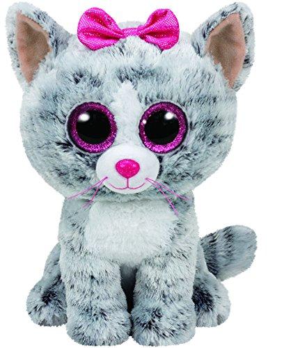 carl-etto-ty-37190-kiki-cat-kitten-glitter-eye-glub-schis-beanie-toy-15-cm-grey