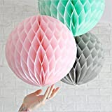SUNBEAUTY 8''(20cm) Pack of 3 Tissue Paper Grey Pink Mint Color Honeycomb Balls Wedding Decoration Festival Birthday Baby Shower Bridal Shower (20cm in diam)