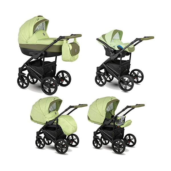 Lux4Kids Stroller Pram 2in1 3in1 Isofix Car seat 12 Colours Free Accessories Leo Frog BA-4 4in1 car seat +Isofix Lux4Kids Lux4Kids Leo 3in1 or 2in1 pushchair. You have the choice whether you need a car seat (baby seat certified according to ECE R 44/04 or not). Of course the car is robust, safe and durable Certificate EN 1888:2004, you can also choose our Zoe with Isofix. The baby bath has not only ventilation windows for the summer but also a weather footmuff and a lockable rocker function. The push handle adapts to your size and not vice versa, the entire frame is made of a special aluminium alloy with a patented folding mechanism. 1
