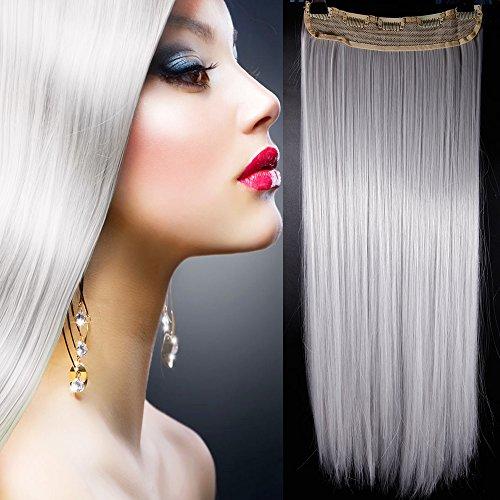One piece clip in hair extension grigio argento capelli una fascia capelli lunghi lisci 3/4 full head larga 25cm lunga 65cm vari colori