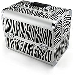 Glow Beauty Case/ Maletín para cosméticos/ Estuches de maquillaje / Estuche organizador de Cosméticos, Negro (Zebra)