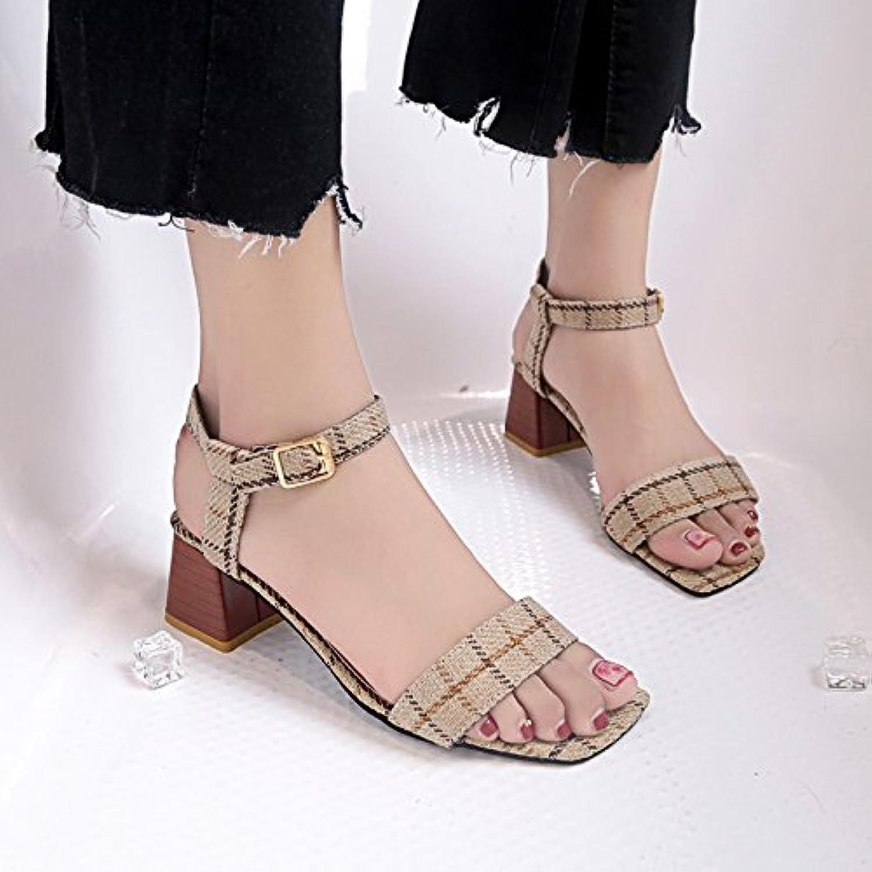 LGK&FA Zapatos, Los Dedos De Los Pies, Zapatos De Mujer, Con Un Par De Tacón Alto Enrejados, Un Par De Sandalias...