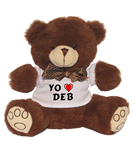Brown stuffed bear with I love Deb on the shirt (first name / surname / nickname)