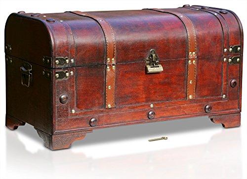 Box Schlüssel Antike Mit (Thunderdog Dallas - große Piraten-Schatztruhe mit Schloss 54x27x30cm Schatzkiste Holz-Truhe)
