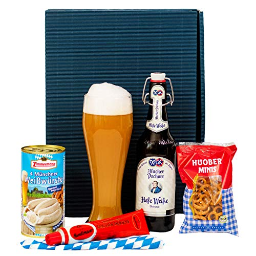 Geschenkset Augsburg | Geschenkkorb mit Bier, Bierglas und bayrischen Spezialitäten