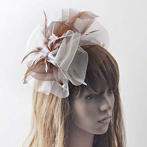 Fascinator Hat Feder Net Mesh Schleier Kentucky Derby Tea Party Hochzeits-Hut Mit Haarclip Und Haarband Frauen,White