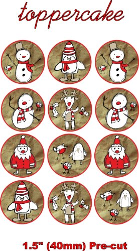 christmas-sketch-15-inch-40mm-edible-pre-cut-rice-paper-cup-cake-decoration-toppers-x-12