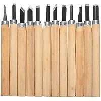 Gasea 12 Set Cinceles Cuchillo de Talla de Madera a Mano Herramientas, Cuchillo de Trinchar Hecho a Mano para DIY Mango de Madera de Herramientas Wax Carving