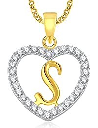 Gorgeous Gold Plated Alphabet 'S' Letter Heart Pendant Locket With Chain For Men And Women/Boys & Girls