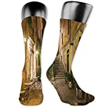vnsukdlfg Medium long Crew Socks,Cityscape,Courtyard Night View with Street Cafe Chairs Plants in Flowerpots Rome Print,Unisex 15.7',Printed Green Brown