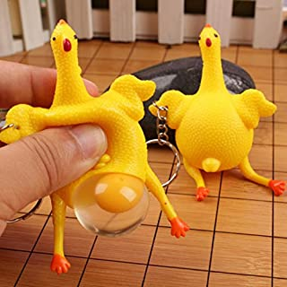 Funny Squishy Squeeze Toys Chicken and Eggs Key Chain Ornaments Stress Relieve, Anglewolf Funny Novelty Stress Relief Gift Toys Key Chain Pendant for Kids (9*6cm, Yellow)