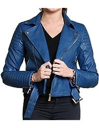 Diana neuen Frauen Faux-Leder-Gold oder Metallknopf Zip Crop Damen Biker-Jacken-Mantel