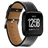 Y56 Fitbit Versa Leder Ersatz-Riemen, Luxus Leder-Armband für Fitbit-Versa, 5,5–7cm, Schwarz