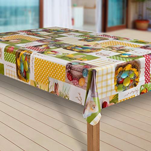 laro Wachstuch-Tischdecke Abwaschbar Garten-Tischdecke Wachstischdecke PVC Plastik-Tischdecken Eckig Meterware Wasserabweisend Abwischbar |52|, Größe:110x200 cm, Muster:Ostern Eier Bunt