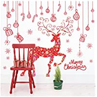 Finestra di vetro colorato ornamenti natalizi 2PCS rimovibile adesivi cervi parete del salone