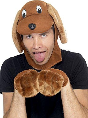 Hunde Haloween Kostüm Für - Smiffys Kostüm Zubehör Hund Mütze Hundekopf Pfoten Karneval Fasching